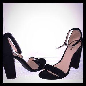Black 2 strap chunky heel
